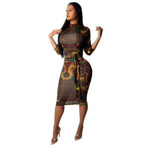 9076 brown banded collar women fall casual dress pencil dress 2018 new designs