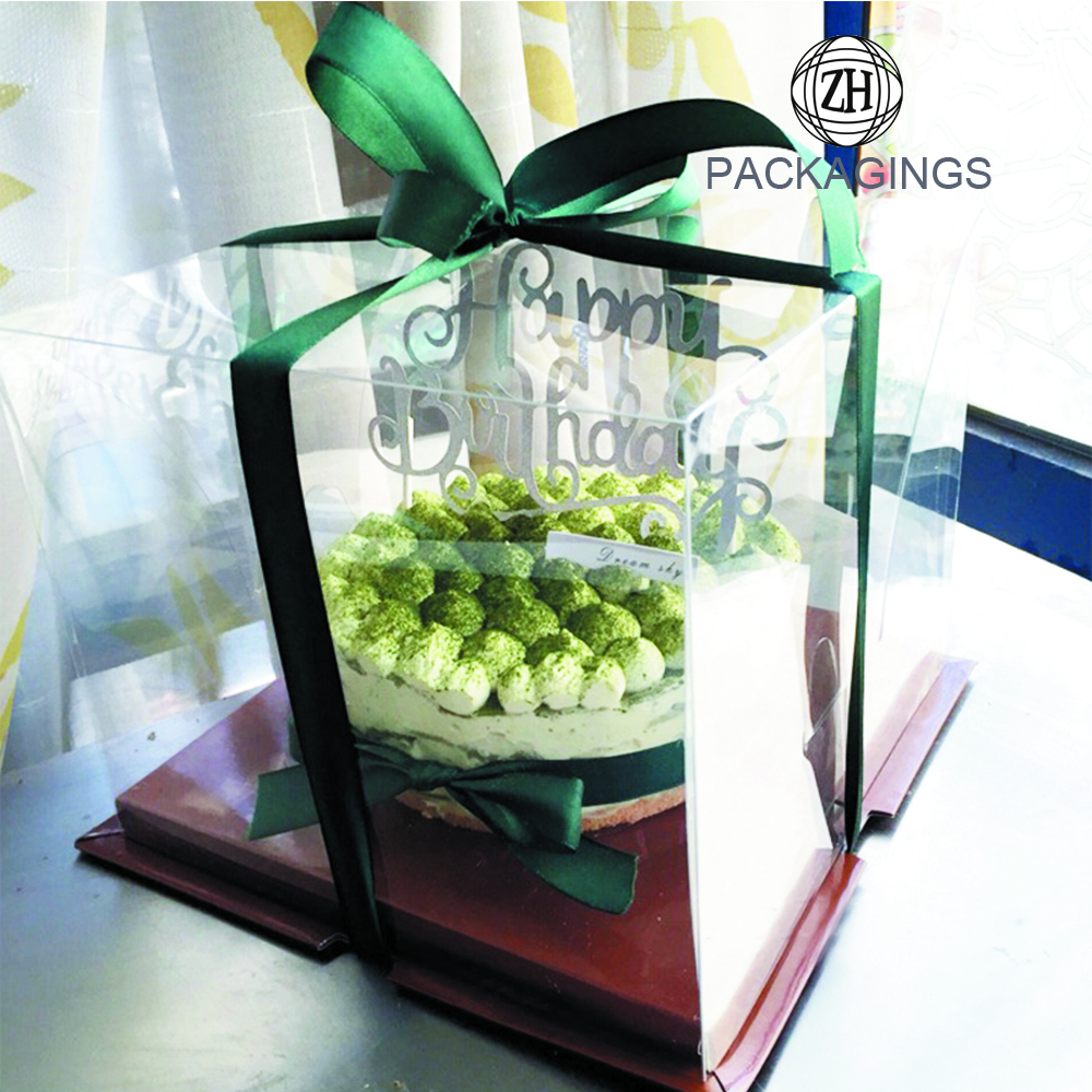 Custom High Quality Clear/Transparent Pet/PVC/PP/PS Plastic Cake Box