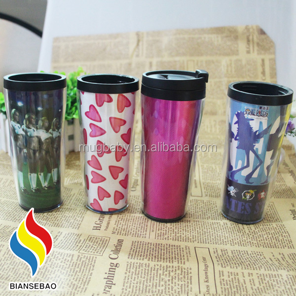 350ml double wall plastic changeable paper insert thermos mug
