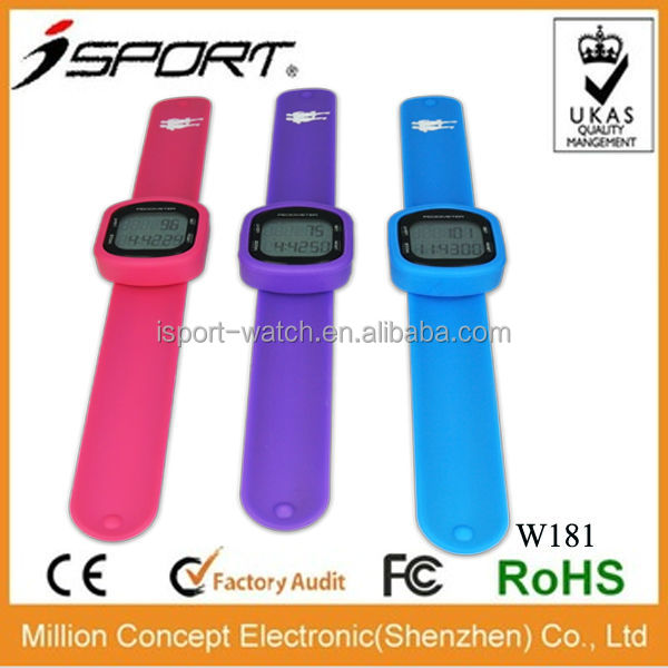 accurate 3D waterproof OEM logo printing USB led watch pedometer