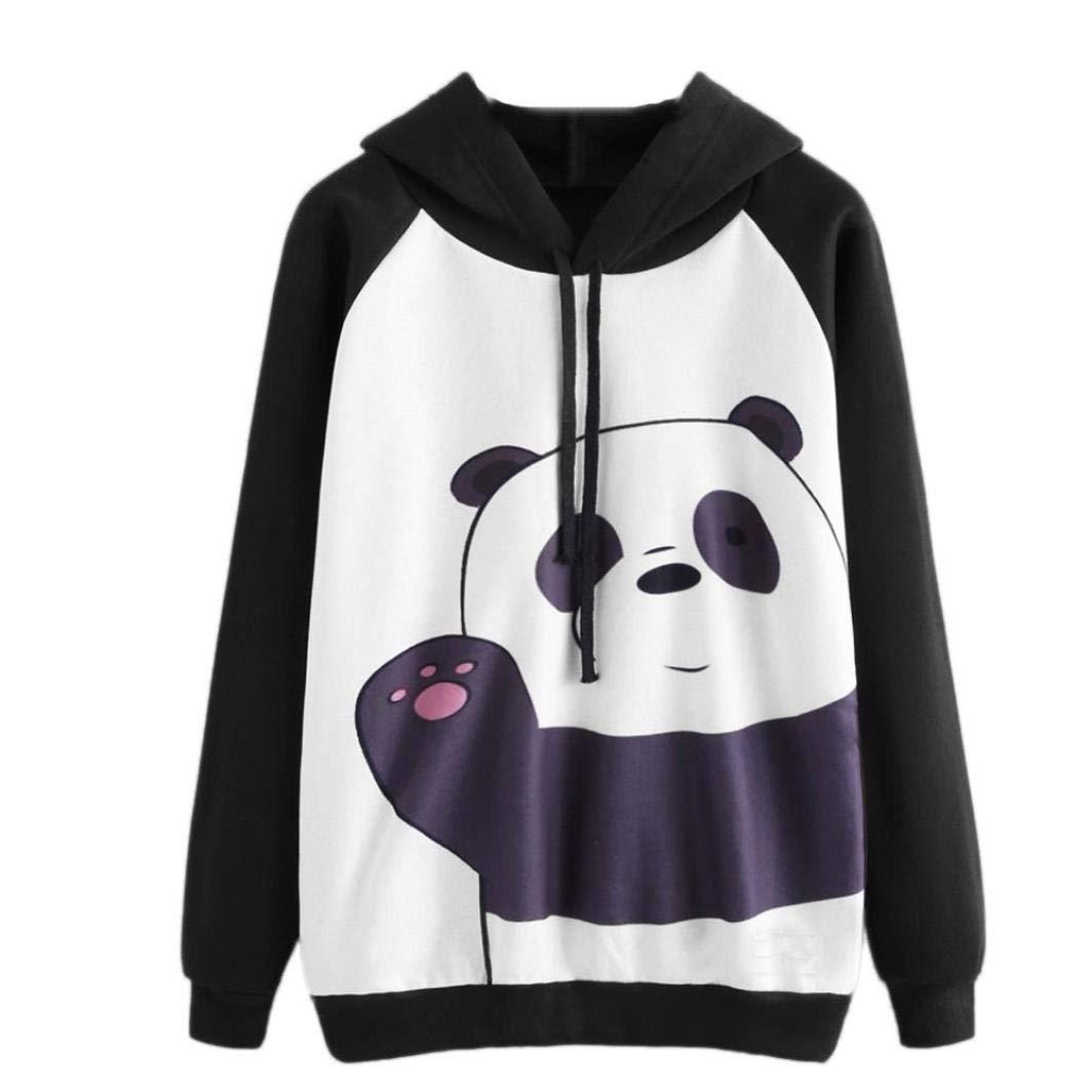 91f530a7e05 Get Quotations · Womens Cute Panda Print Long Sleeve Hoodie Sweatshirt  Drawstring Pullover Tops Blouse