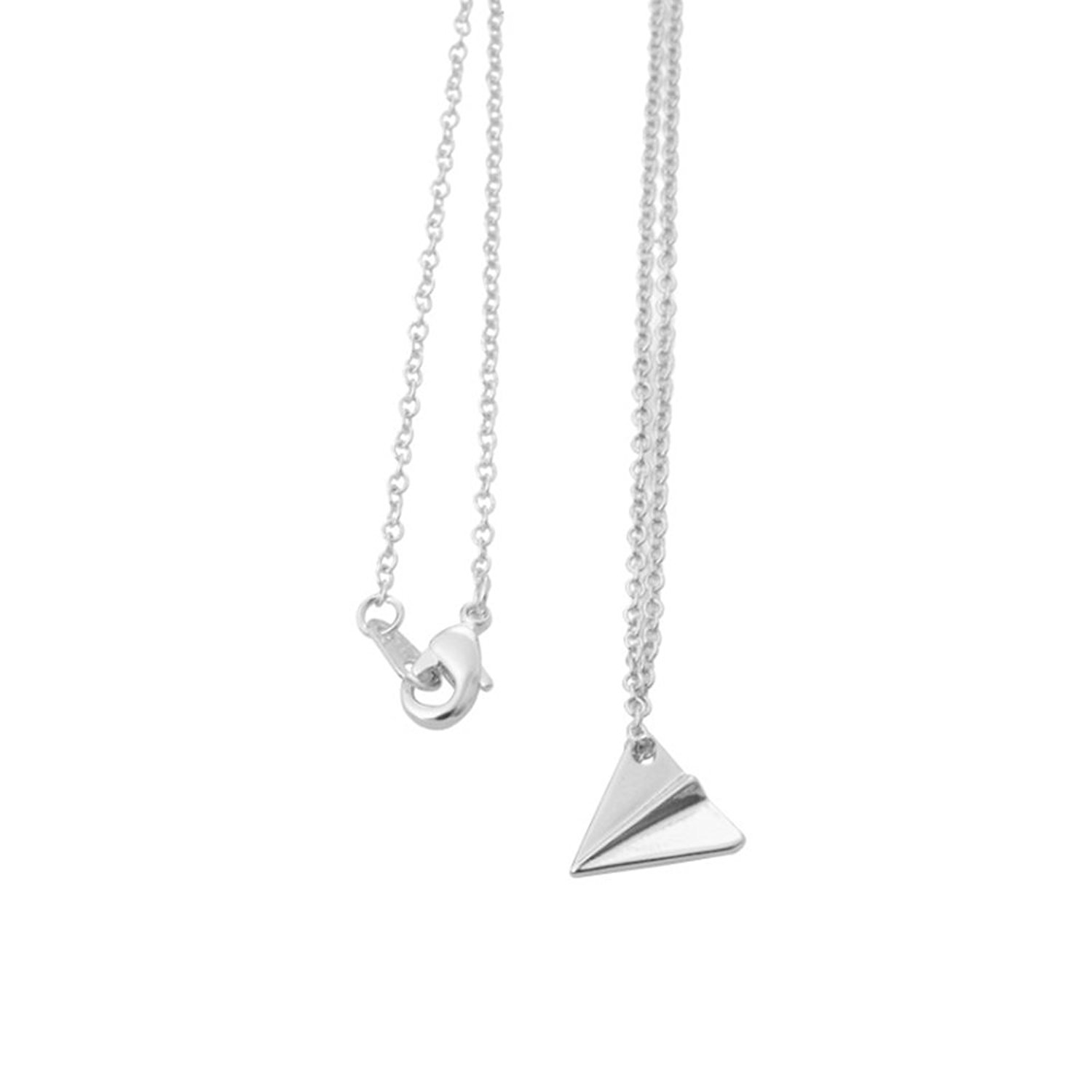 MUZHE Delicate Tiny Airplane Pendant Necklace - Simple Long Chain Paper Plane Necklace for Women Girls