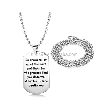 Stainless steel dogtag pendant necklace engraved inspirational quote stainless steel dogtag pendant necklace engraved inspirational quote 2pcs bead chains 2030 inches aloadofball Choice Image