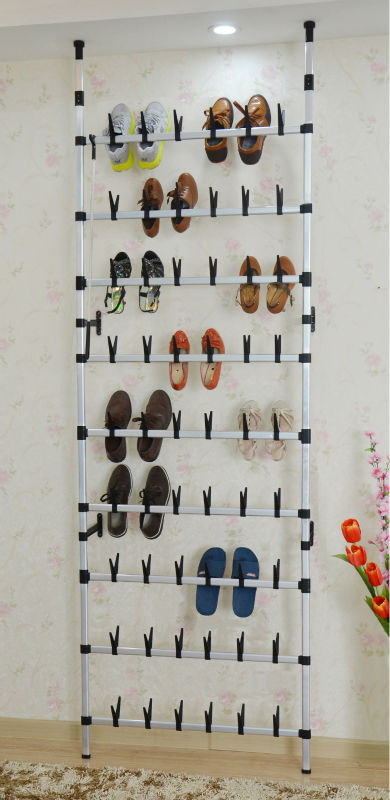 Wall Mounted Metal Shoe Rack For 30 Pair Rolling Shoes Racking Boot Door Hanging