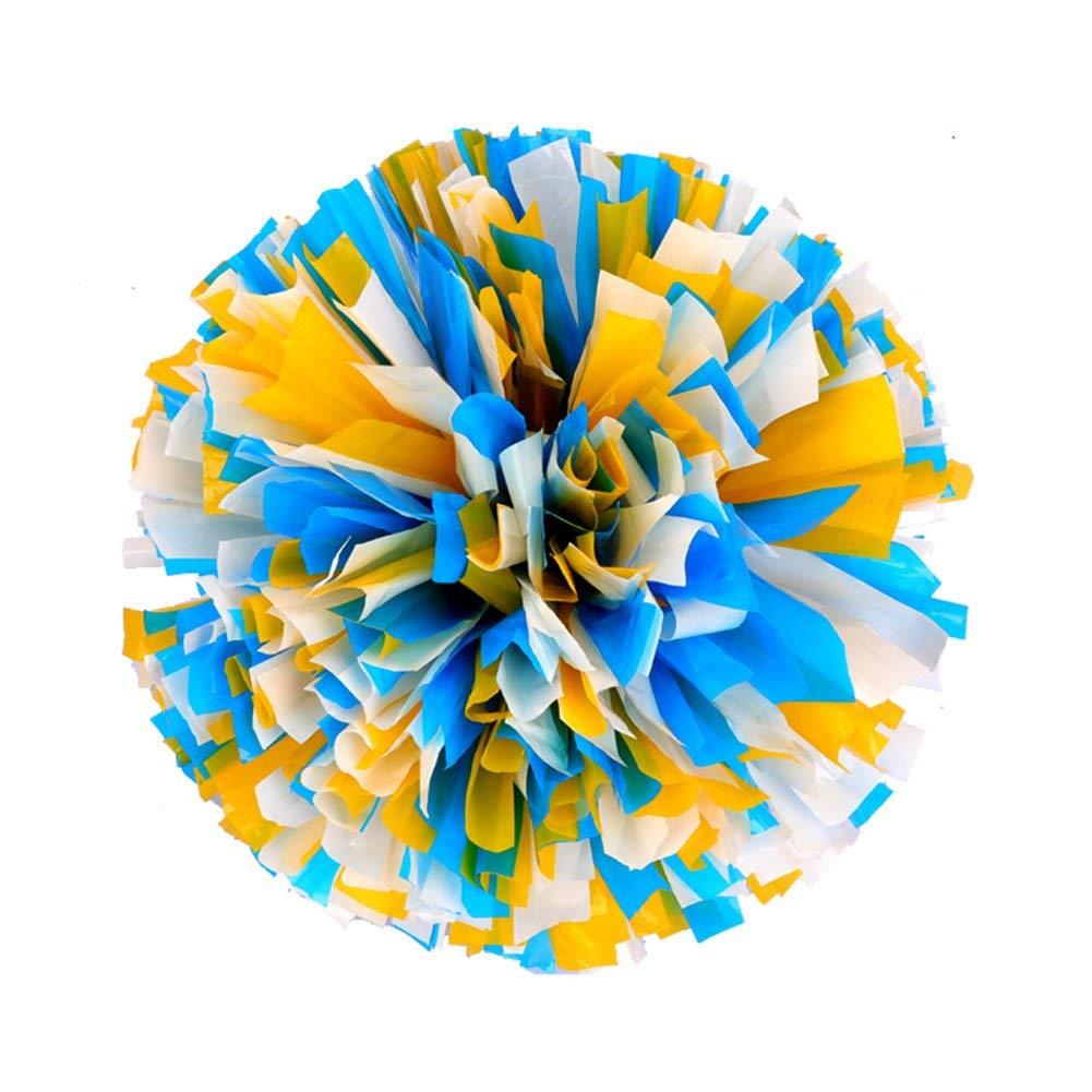 Lanburch [80g] 1 Pair Cheerleading Pom Poms PES Flower Ball Foil Pom Poms Plastic Ring Pom Poms for Dance[Blue+yellow+White]