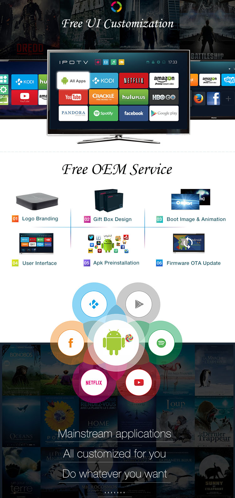 HDA800M1A OEM MediaTek MT8685 1GB+8G Quad-core 1080P H.265 Smart Android Set Top Box OTT TV Box with Kodi