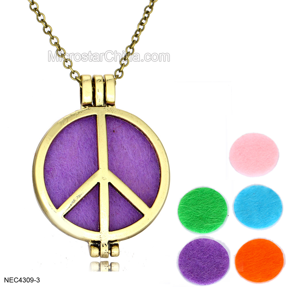 Vintage Aromatherapy Photo Frame Lockets Pendant Charms Essential Oil Diffuser Lockets Pendants Perfume Hollow Peace Necklace