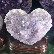 Beautiful natural amethyst cluster heart purple crystal geodes heart for wedding decoration fengshui ornament