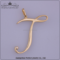 Perfect Jewelry Factory Custom Latest Ladies Style Simple J Shape Yellow Color Pendant Jewelry Gold