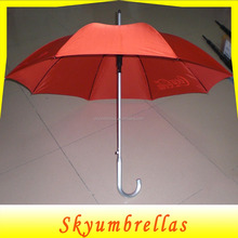 Advertise print 23 inch straight aluminum curve handle promotional umbrella