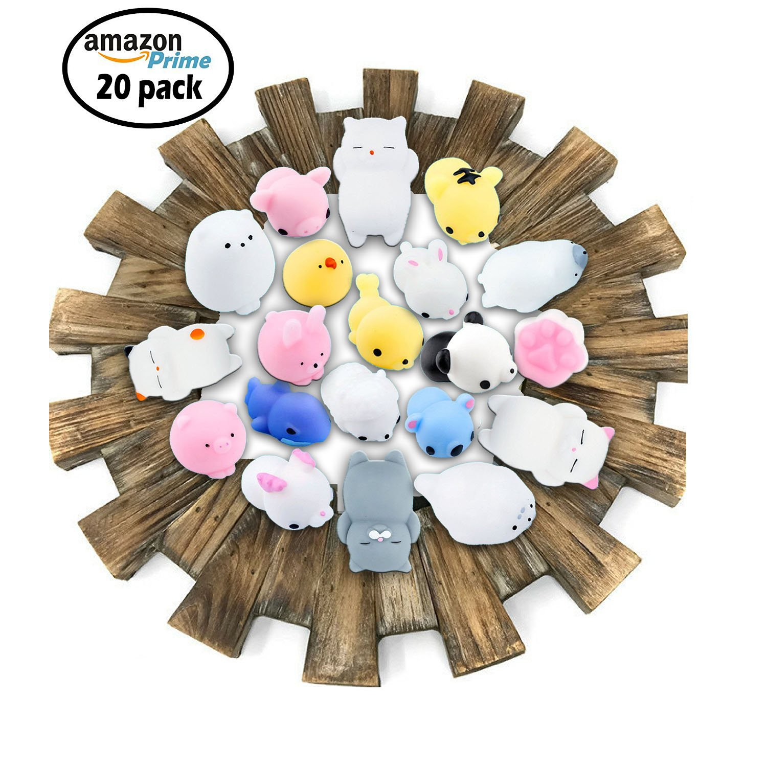 CETIM Mochi Squishy Toy, 20 Pcs Mini Mochi Kawaii Animal Squishies, Soft Squeeze Stress Reliever Balls Toys for Kids And Adults, Pefect Party Favors