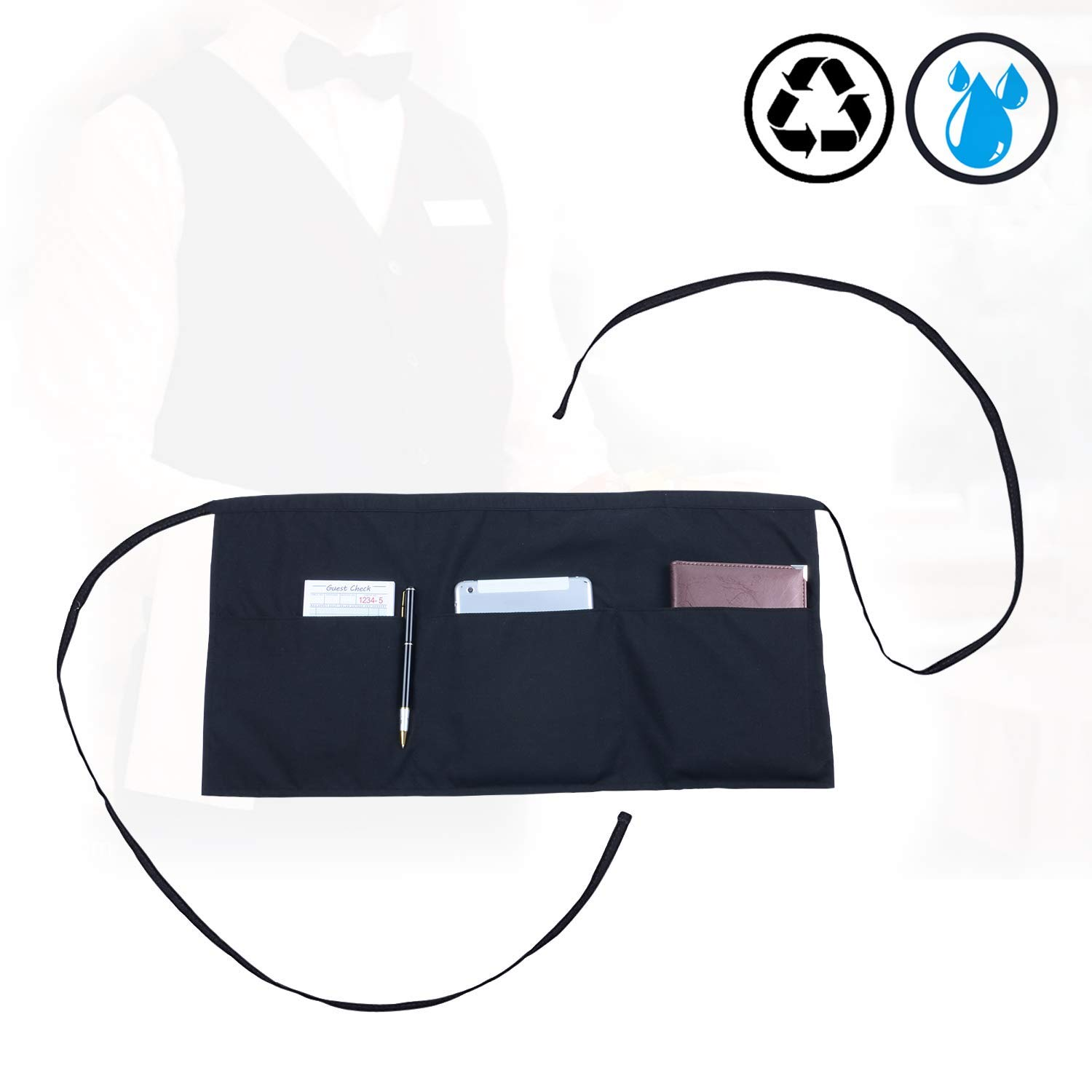 Adult's Waist Apron with 3 Pockets | Black Half Apron for Waitress Waiter Server Waitstaff |Short Aprons Kitchen Restaurant for Women Men | Money Apron for Holding Server Book Guest Check Pad