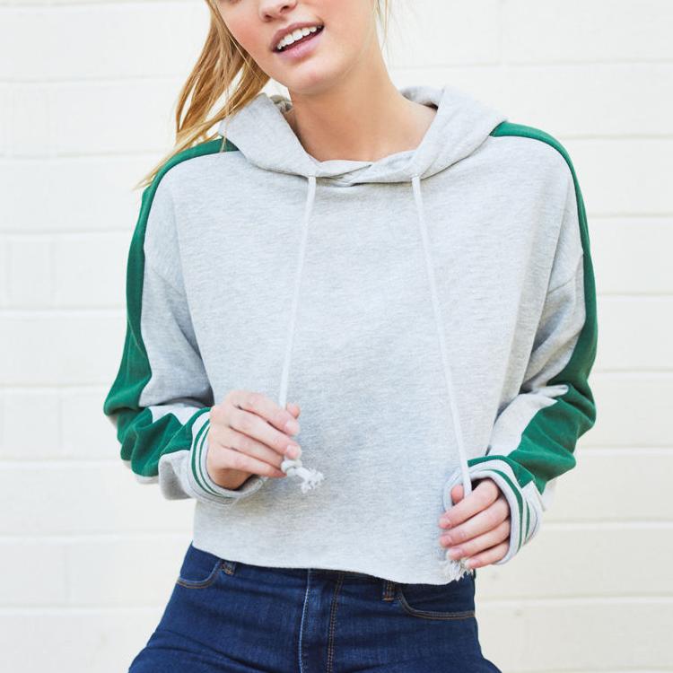 Großhandel Frauen Baumwolle gestreiftes Langarm Gymnastik Hoodies Sweatshirt