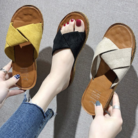 Latest new design trend fashion shoes Korean peep toe flat woman slippers