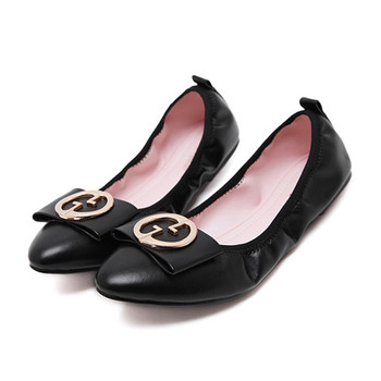 3c8a7616641 wedding round metal buckle flat shoes pu pointed toe women foldable slip on  ballet flats