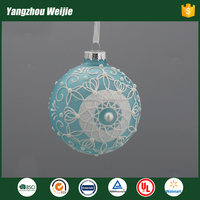 Best quality glass lace decor christmas ball ornaments