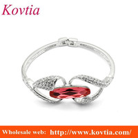 2016 red crystal women's jewellery link two heart womens bangle bracelet