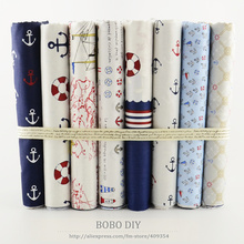 8PCS/lot sea theme pattern sets cotton fabric 50cmx50cm for sewing tissus tilda home textile clothes fabrics for patchwork