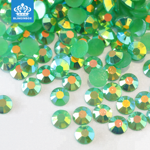 Wholesale 4mm Emerald AB Jelly Color Flatback Resin Acrylic Stone Good For Nail Decoration Cell Phone Case