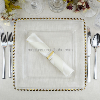 MC 12 inches wholesale clear beaded glass square gold charger plates for wedding & Mc 12 Inches Wholesale Clear Beaded Glass Square Gold Charger Plates ...