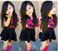 New 2016 brand summer kids baby girl clothing sets fashion Cotton short sleeve T shirt and