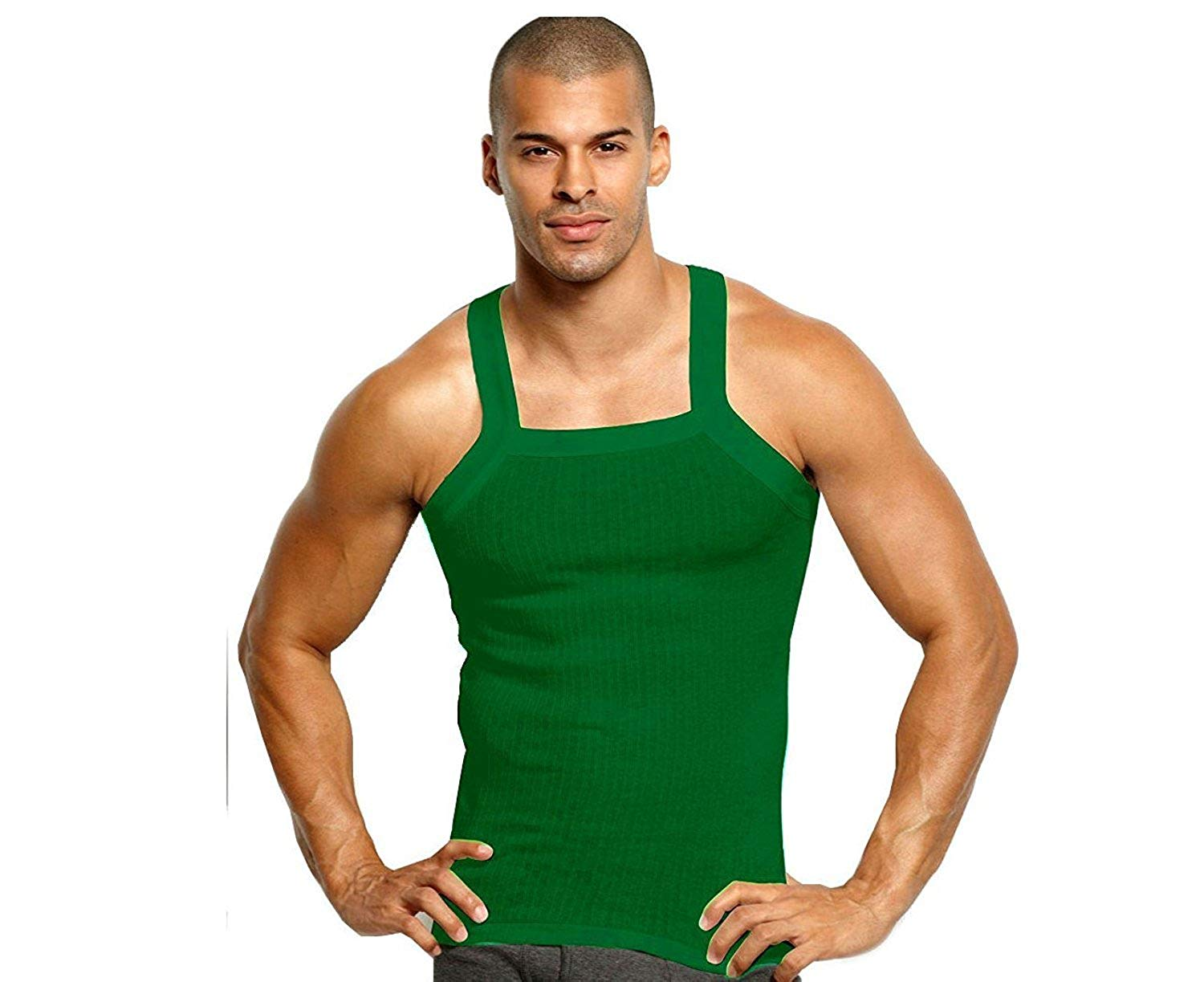 9b05fc3bbe25 Get Quotations · John Son 100% Cotton Heavy Weight Square Cut Ribbed Muscle  Shirt