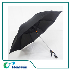 23 inch manual open fan umbrella with battery,black straight umbrella