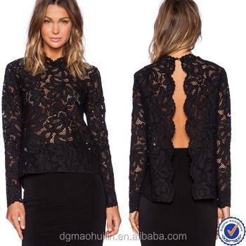 Ladies Tops Latest Design Fashion Apparel Custom Ladies Black Lace ...