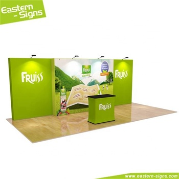 Beautiful tension fabric full color display floor standing exhibition booth and fabrication