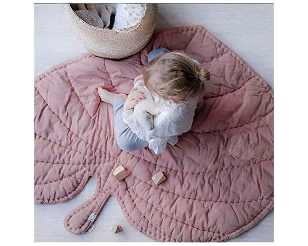 Baby Crawling Mat Leaf Shaped Round Rug Soft Cotton Filling Quilt Blanket Carpet Pink Sleeping Pad Rug Room Decoration 42.9 in