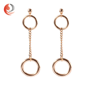 Suppliers Surgical Steel Polygon Eardrop Stud 22K Gold Earring For Women