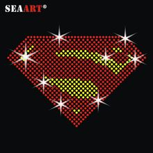 Korea Kwaliteit <span class=keywords><strong>Superman</strong></span> Diamond Rhinestone Hot Fix Transfer Voor T-Shirt
