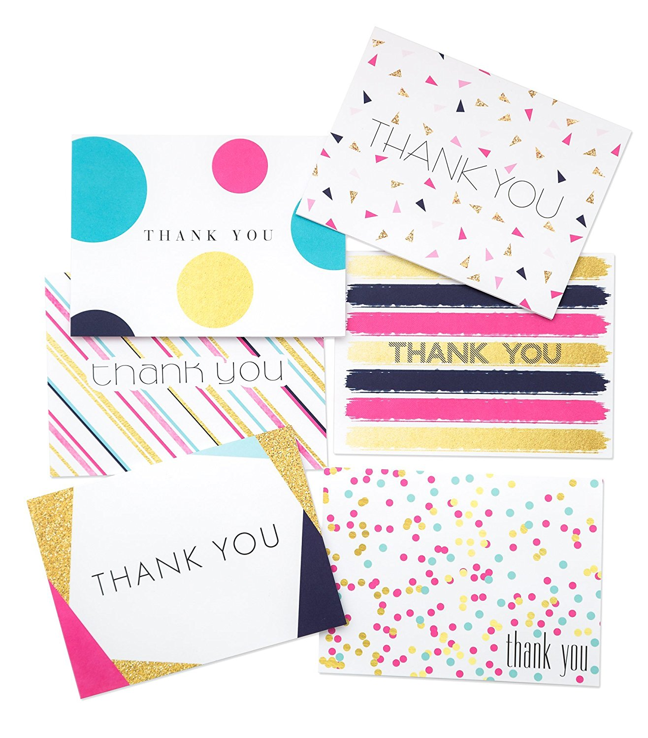 36 pack thank you cards bridal wedding shower thank you cards 6 polka dot striped confetti designs birthday party blank on the inside assorted note cards