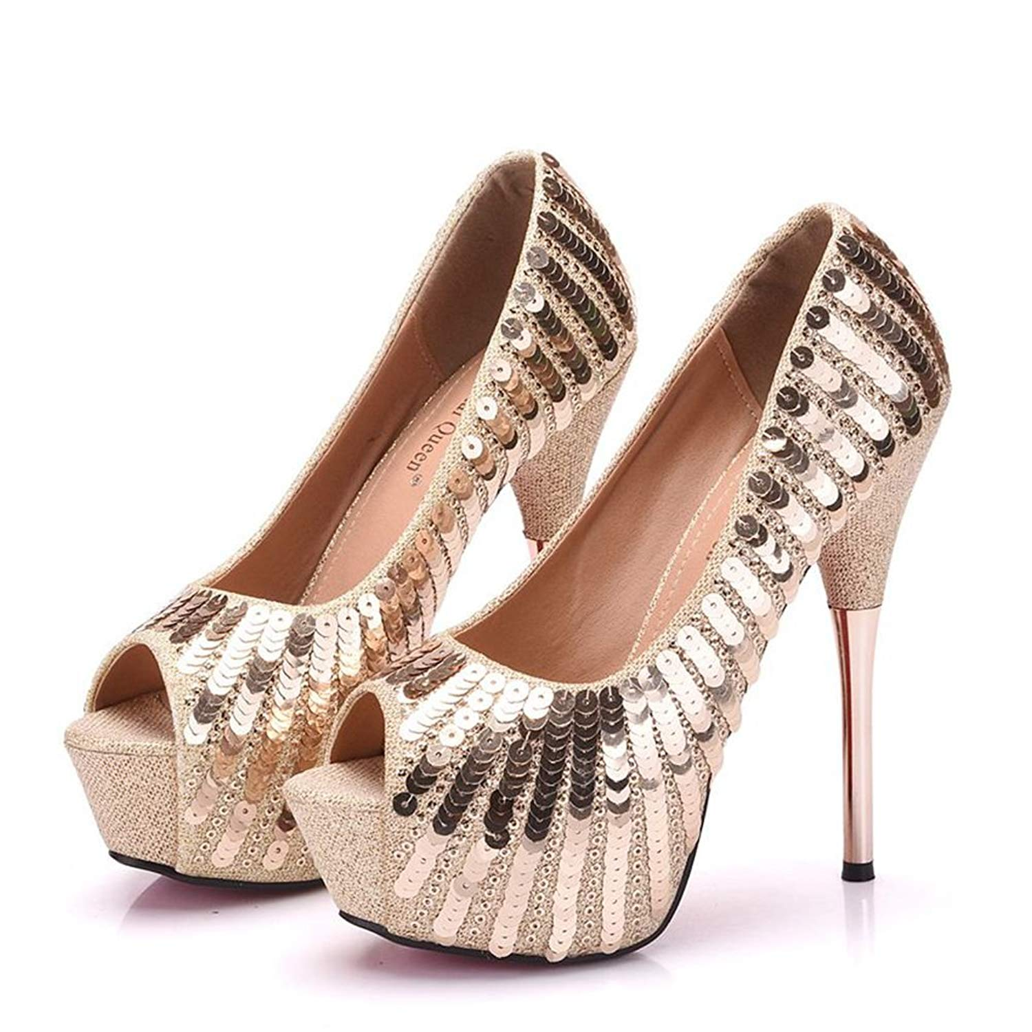 Get Quotations · Crystal Queen Women Gold Pumps Bling Bling High Heels Thin  Heels Peep Toe Sexy Paillette Heels accb7ad18c01