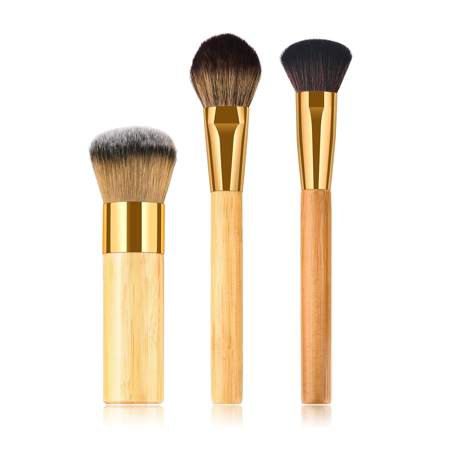 cute bamboo long handle makeup brush 3 piece brush set