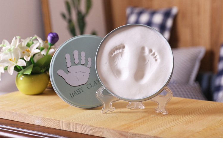 Pasgeboren Baby Hand Print en Foot Print Klei Inkt Pasta Modder Baby Ijzeren Doos Souvenir Set
