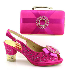 CSB1039 Latest fushia Italian shoes matching bag set good quality shoes and bag set to match African dresses