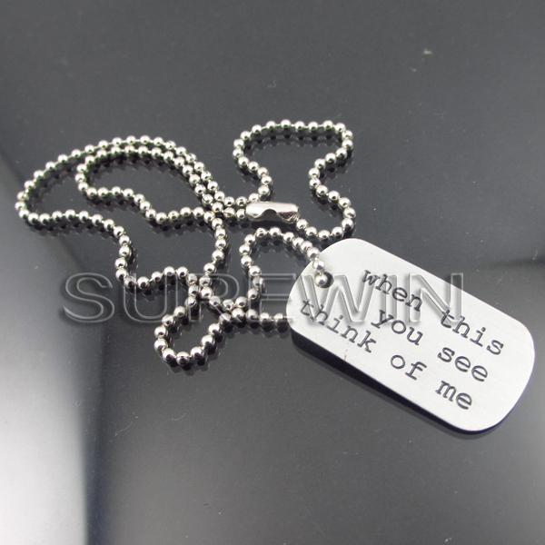 custom metal engraving logo mini tags with steel chain