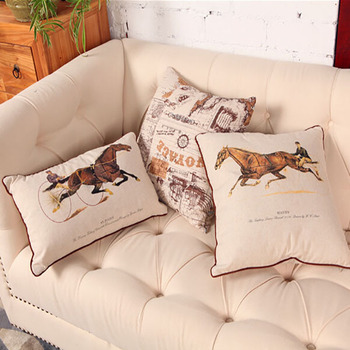 Outdoor Horse Design Submalition Printing Pillow Cover Bulk Throw