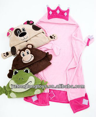 soft various plush blanket with animal head for children