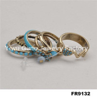 Fashion jewelry rings imitation diamond wedding ring sets, lucky stone finger ring