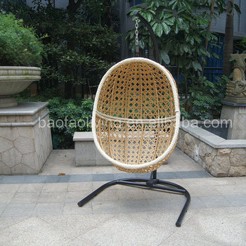 Plastic Rattan Wicker Swing Chair, Garden Outdoor Furniture, Steel Frame Hanging  Chair For Adult
