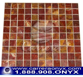 Red Onyx Stone Polished Mosaic Tile