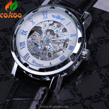 New arrival fashion watches men's automatic machanical wrist watch hollowed Roman numerals skeleton clock