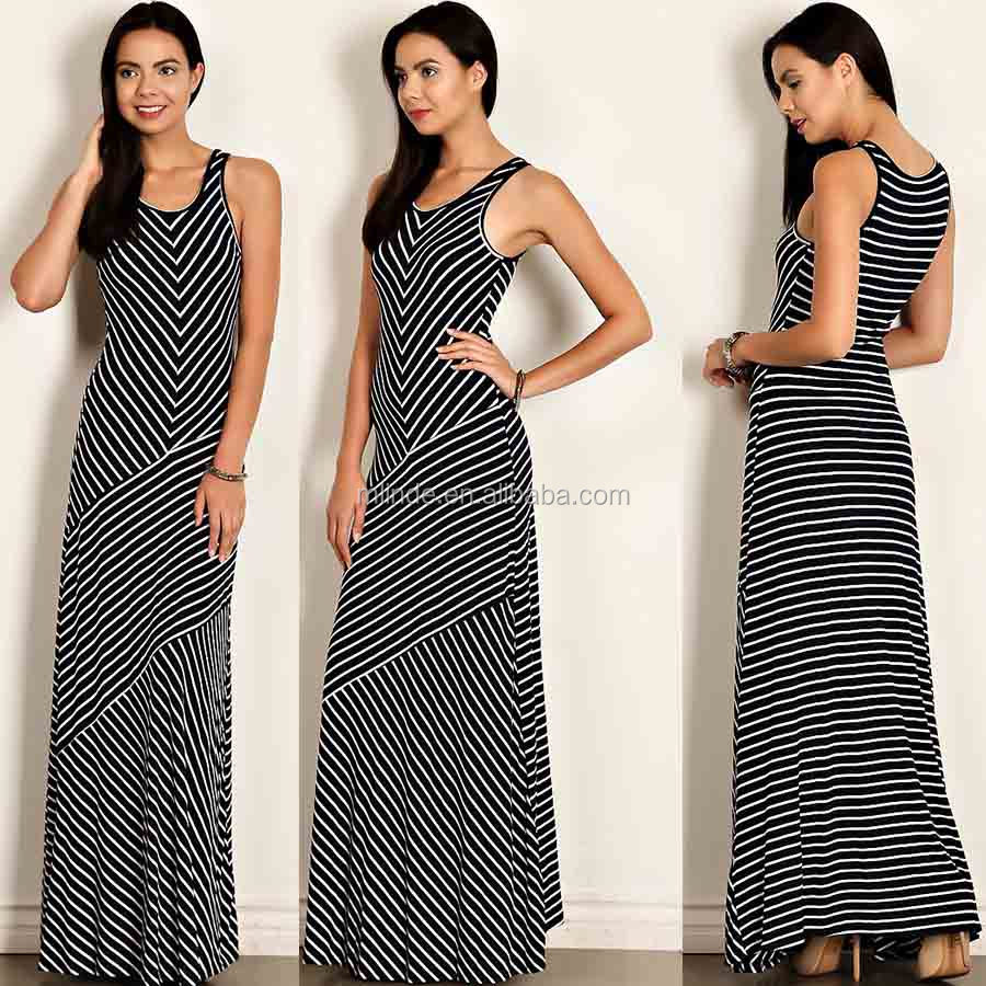 ALIBABA FASHION DRESS STRIPE KNIT BODY CON LONG TANK SEXY MAXI DRESS WOMEN