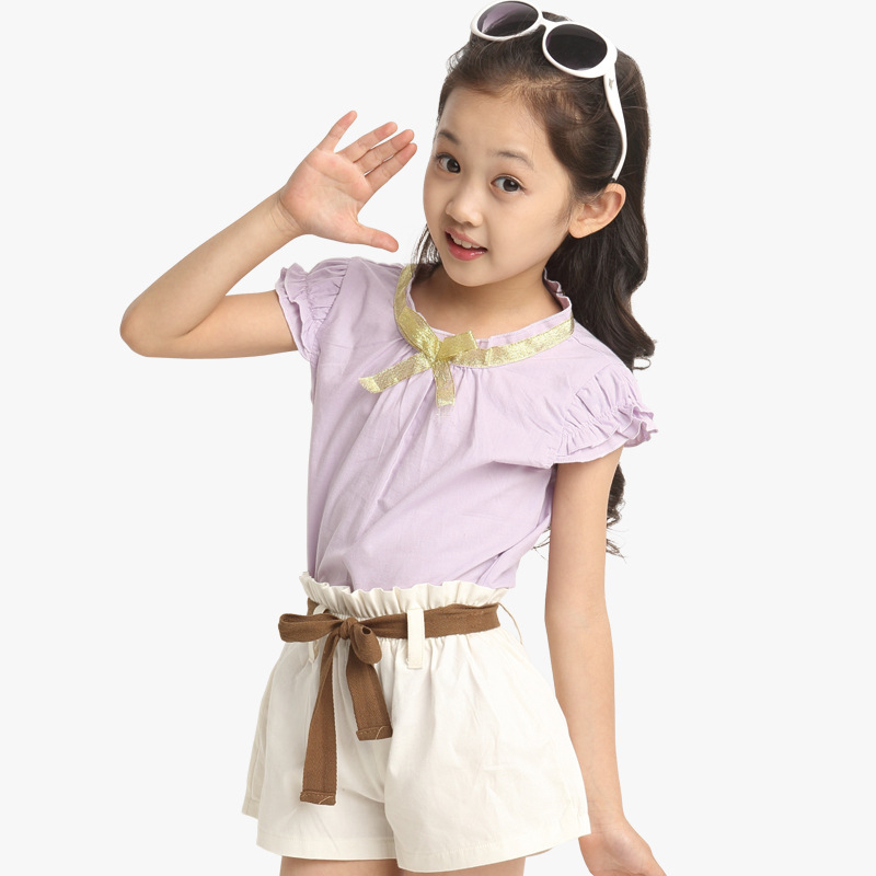 c0229907d57855 Get Quotations · 2015 Summer fashion 2 to 13 years old kids Girls bowknot  purple red blouses white shorts