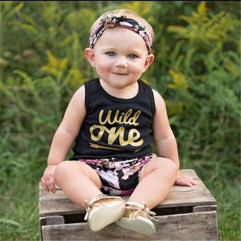 3pcs Summer Newborn Cotton Baby Girl Clothes Gift Set Tank Top Floral  Pants Clothing Set For Babies