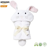 Factory custom Amazon thick ultra soft 800gsm 89 x 89cm eco friendly organic bamboo baby kid's rabbit hooded bath towel