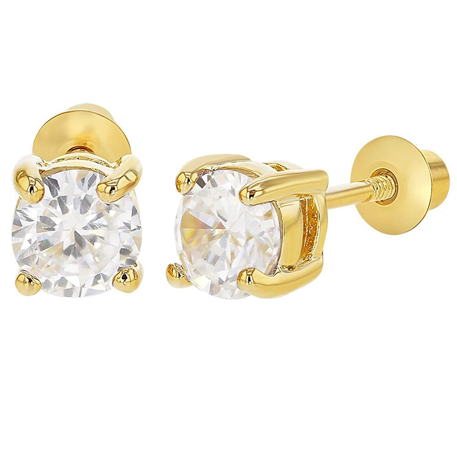 3d9bb8491 Get Quotations · 18k Gold Plated Screw Back Earrings for Girls and Kids  Round Clear CZ 5mm
