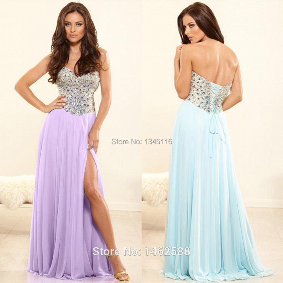 Women Long Formal Evening Gowns Beaded Sweetheart Side Slit Lilac Sky Blue Chiffon Prom Dresses 2015